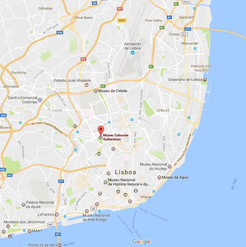 Mapa região de Lisboa com a identificação da Fundação Calouste Gulbenkian