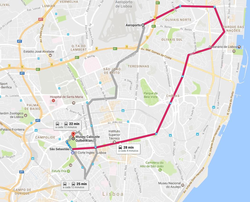 Trajeto (via metro - linha vermelha) entre o Aeroporto de Lisboa e a Fundação Calouste Gulbenkian