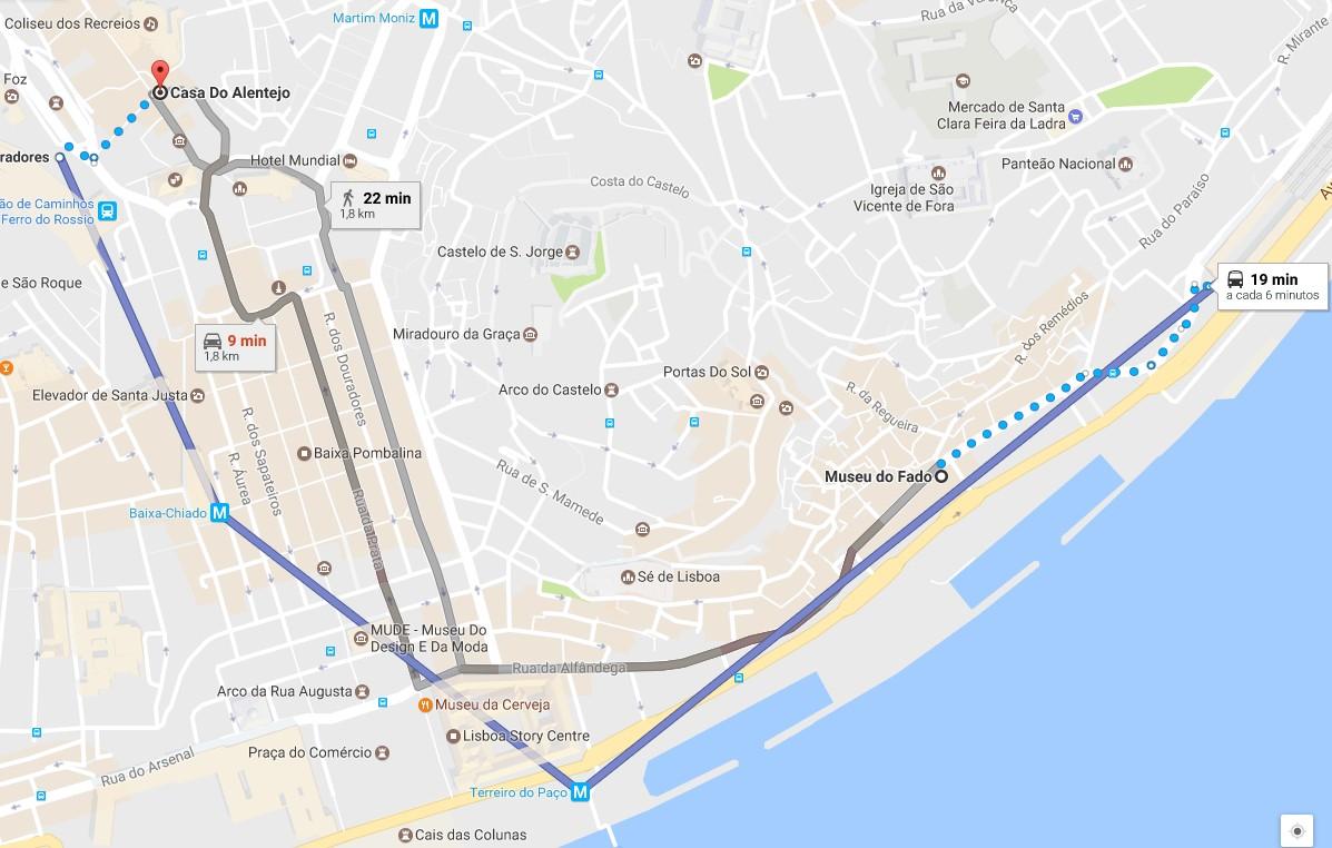 Trajecto (via metro) do Museu do Fado para o Restaurante Casa do Alentejo