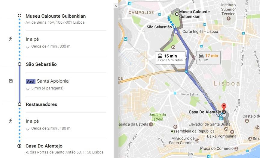 Trajeto (via metro) entre a Fundação Calouste Gulbenkian e a Casa do Alentejo