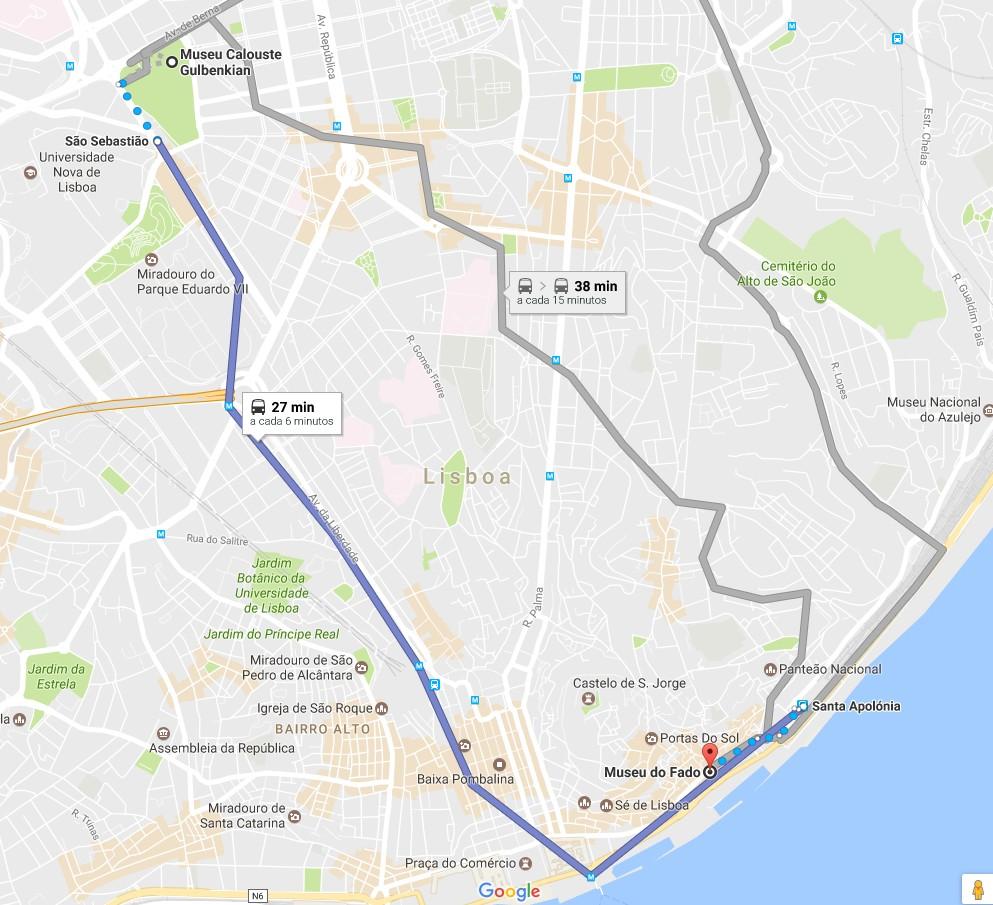 Trajecto (via metro) entre a Fundação Calouste Gulbenkian e o Museu do Fado